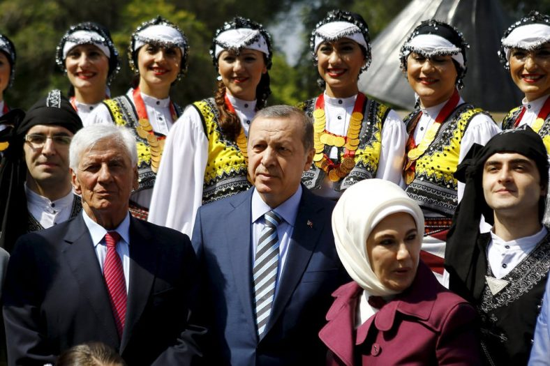 Turkish President Erdogan, his wife Emine, and the mayor of Vitacura, Torrealba attend at the opening of a public square in Santiago